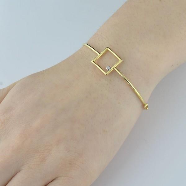 Bracelete quadrado com diamante em ouro 18k