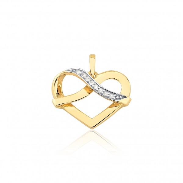 Pingente coração com diamantes.