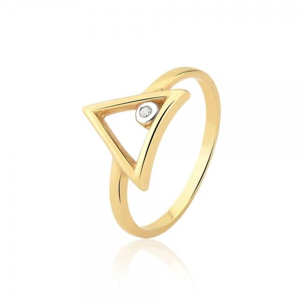 Anel triângulo com diamante em ouro 18k
