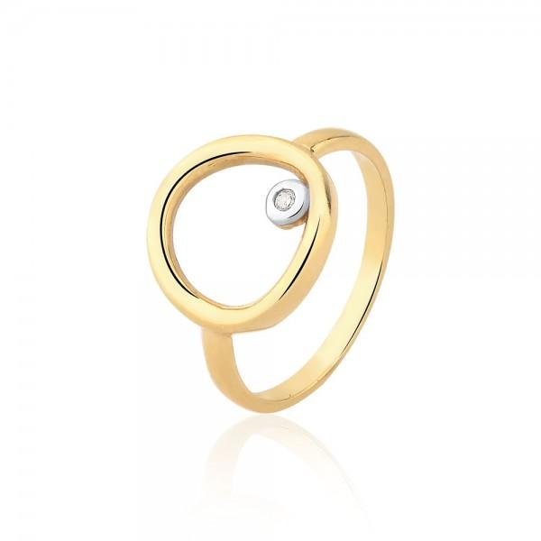 Anel círculo com diamante em ouro 18k
