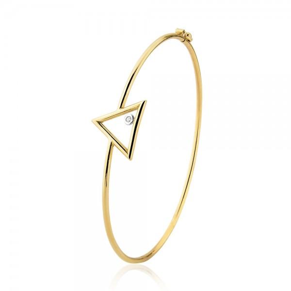 Bracelete triângulo com diamante em ouro 18k
