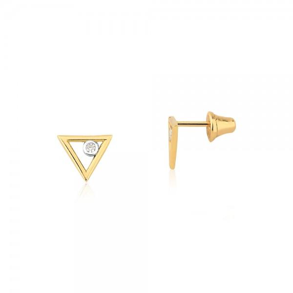 Brinco triângulo com diamante em ouro 18k
