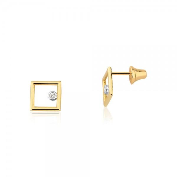 Brinco quadrado com diamante em ouro 18k