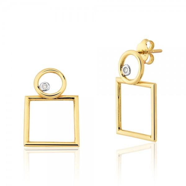 Brinco círculo e quadrado com diamantes em ouro 18k