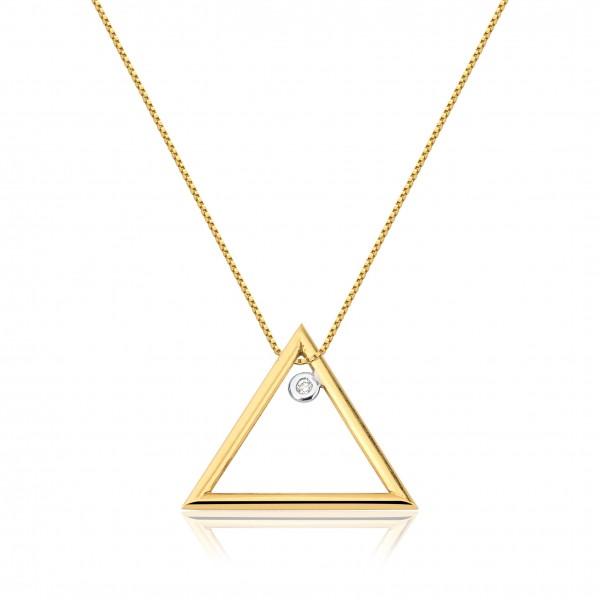 Pingente triângulo com diamante em ouro 18k