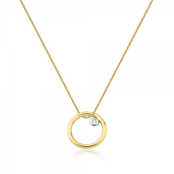 Pingente círculo com diamante em ouro 18k