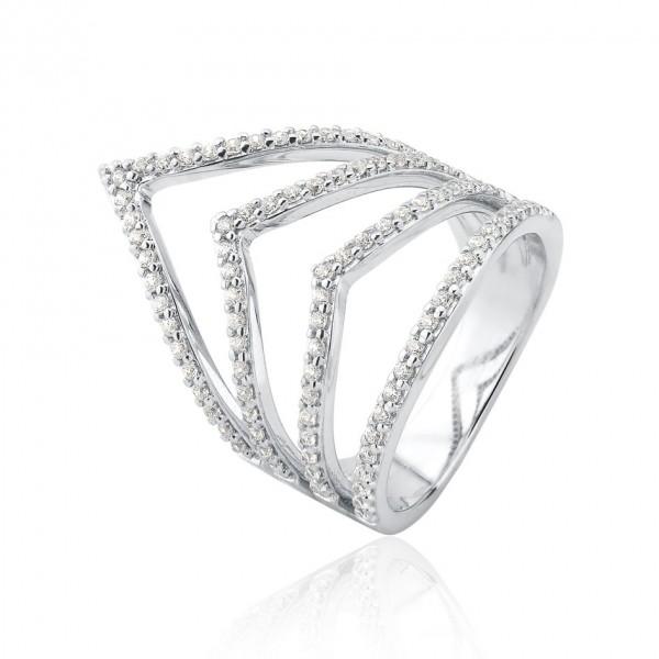 Anel V com aros de zircônias em prata