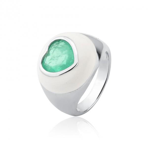 Anel esmaltado e coração com zircônia verde em prata