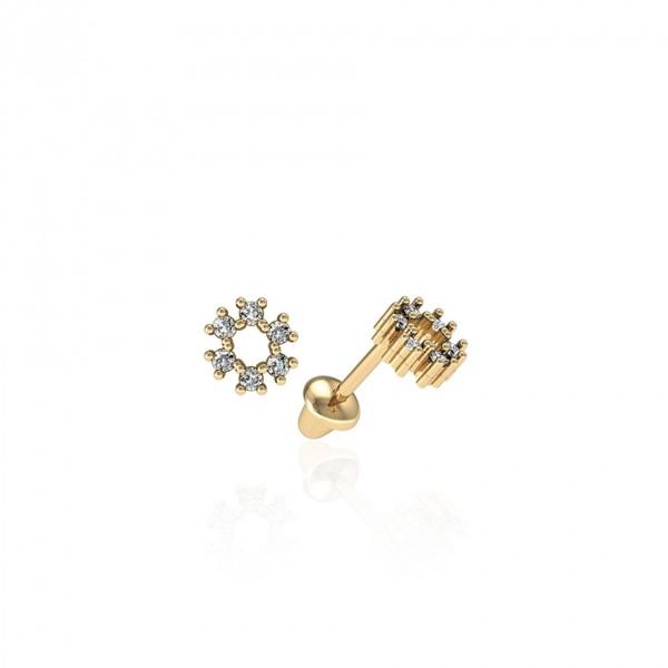 Brinco circulo de Diamantes em ouro 18k