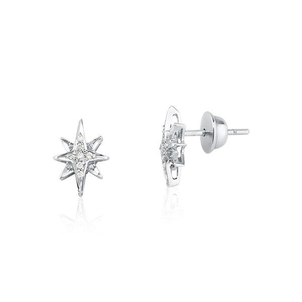 Brinco Estrela com Diamantes Ouro branco 18k