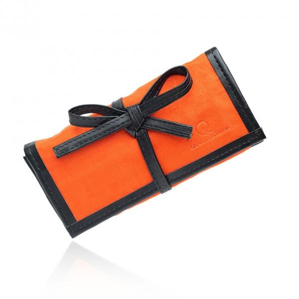 Porta joias de bolsa aveludado com divisórias