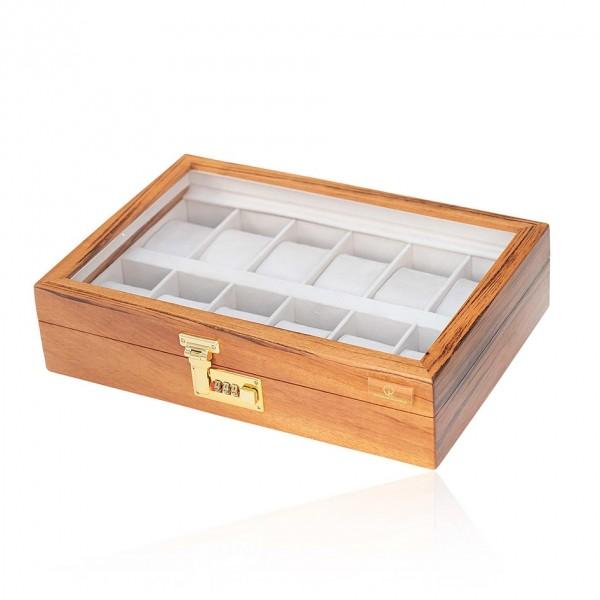 Caixa porta relógios com 12 espaços