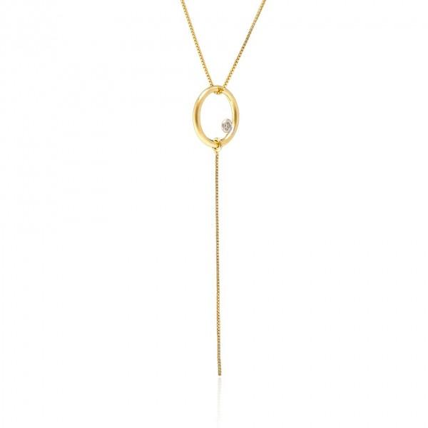 Pingente círculo com fio veneziana com diamante em ouro 18k