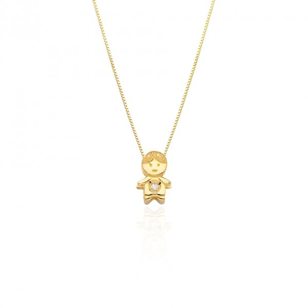 Pingente menino com Diamante em ouro 18k