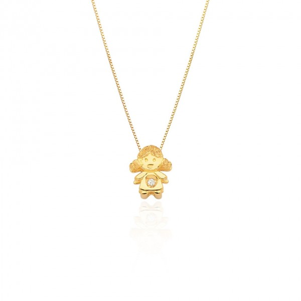 Pingente menina com Diamante em ouro 18k