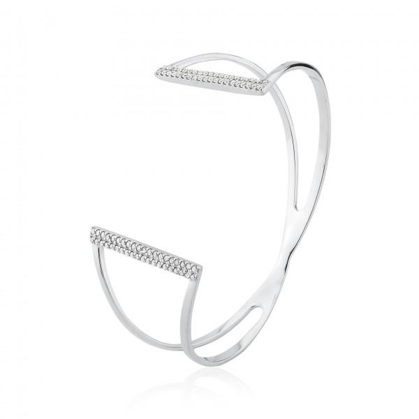 Bracelete rígido com zircônias em prata