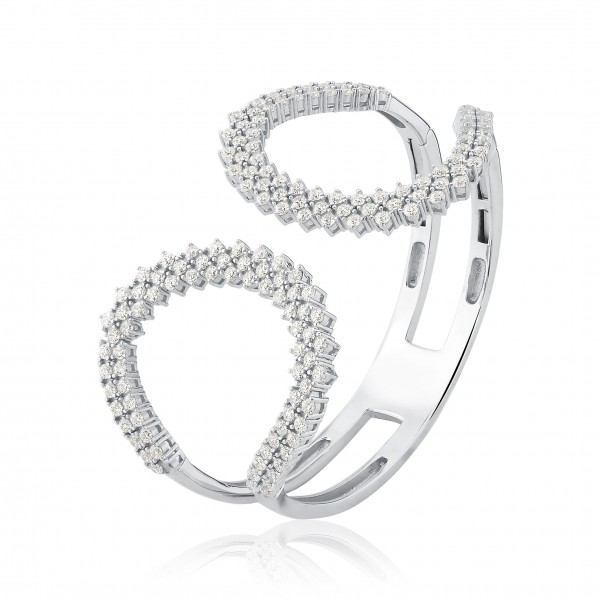 Bracelete rígido com zircônias e dobradiça em prata